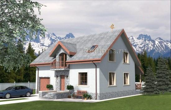 Проект индивидуального жилого дома с мансардой Rg4763