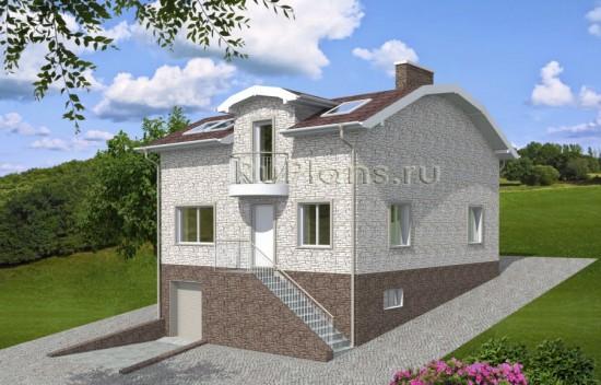 Проект одноэтажного дома с подвалом и мансардой Rg3949