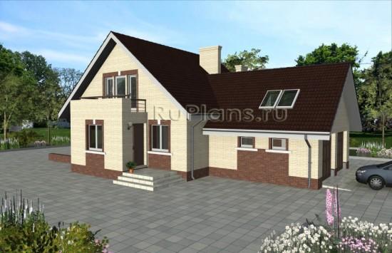 Проект дома с мансардой и гаражом Rg4782