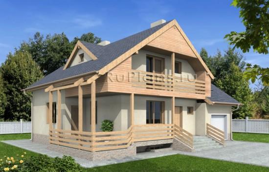 Проект одноэтажного дома с цокольным этажом и мансардой Rg4865