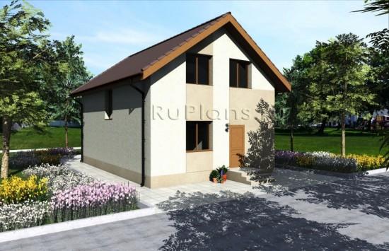 Проект одноэтажного дома с мансардой Rg3851