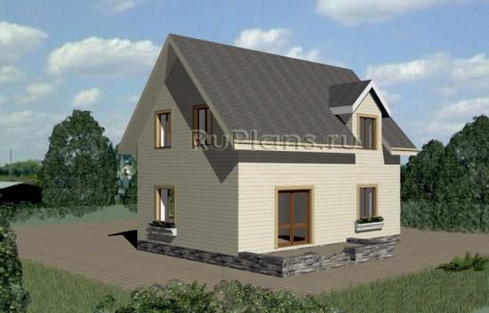 Проект одноэтажного дома с мансардой Rg3337