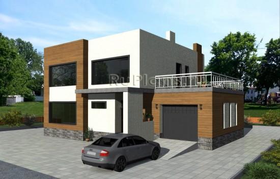 Проект двухэтажного дома с большой террасой Rg4808