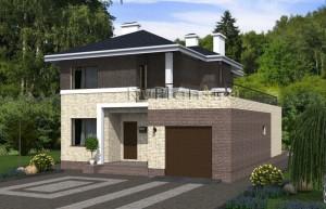 Проект двухэтажного дома с гаражом и террасой Rg4817