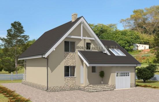 Проект просторного одноэтажного дома с мансардой Rg5032
