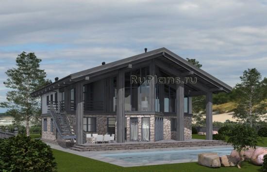 Проект уникального одноэтажного дома с мансардой Rg5030