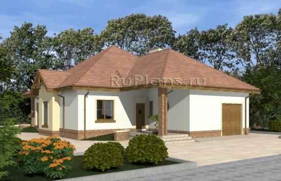 Проект одноэтажного дома с гаражом и террасой Rg4821