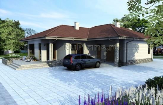 Проект компактного одноэтажного дома с гаражом Rg3946
