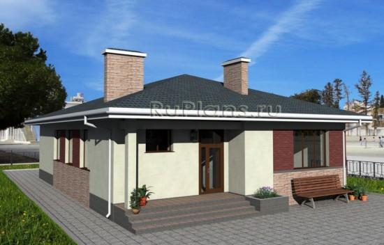 Одноэтажный дом с эркером Rg1616