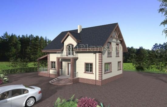 Дом с террасой и мансардой Rg3873