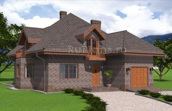 Проект одноэтажного дома с мансардой и гаражом Rg4829