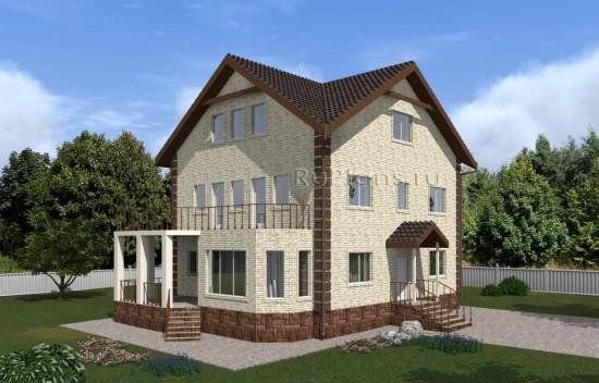 Проект двухэтажного дома с подвалом, мансардой, террасой и большим балконом Rg5015