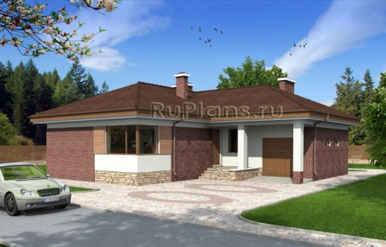 Проект одноэтажного дома c гаражом Rg4795
