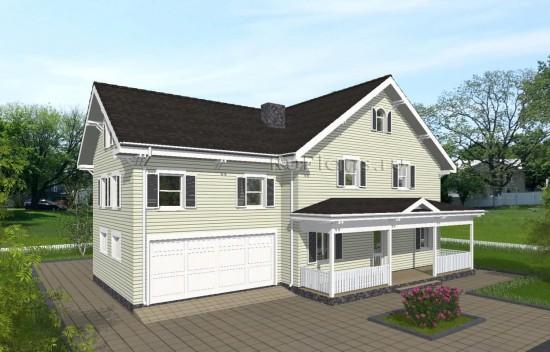 Проект индивидуального одноэтажного жилого дома с мансардой в американском стиле Rg4988