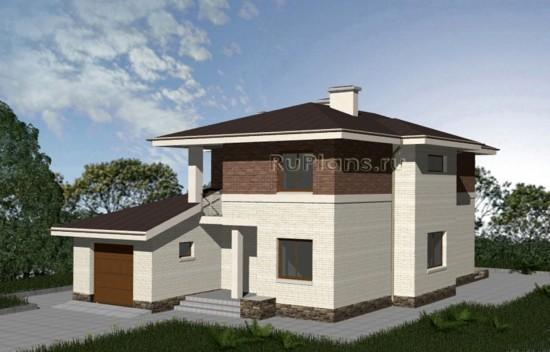 Проект компактного двухэтажного дома с гаражом Rg3332