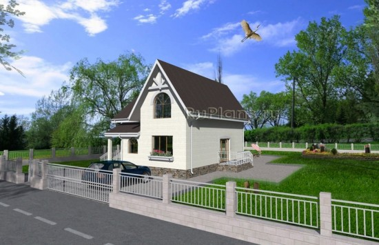 Проект индивидуального одноквартирного жилого дома с мансардой Rg1622