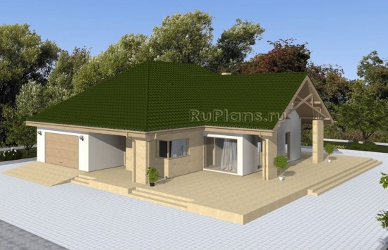 Проект одноэтажного дома с просторной террасой Rg4925