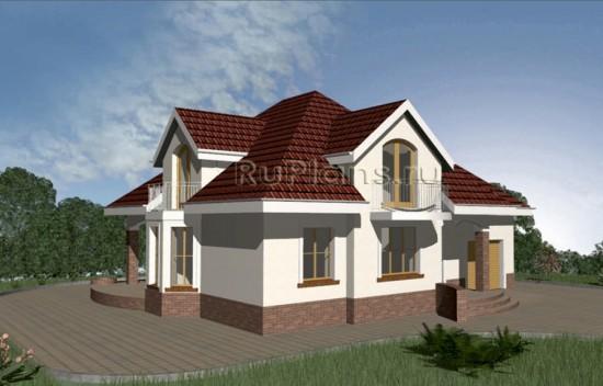 Проект компактного одноэтажного дома с гаражом и мансардой Rg3361