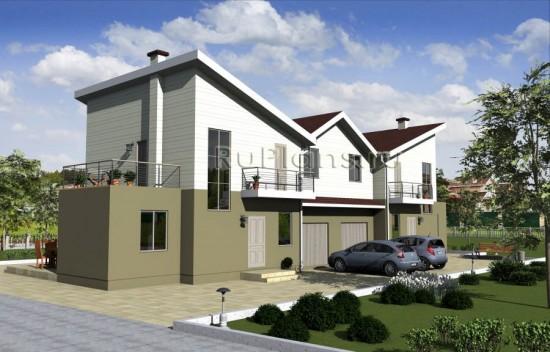 Проект двухсекционного дачного дома с мансардой Rg1584