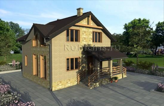Проект удобного кирпичного дома Rg3906