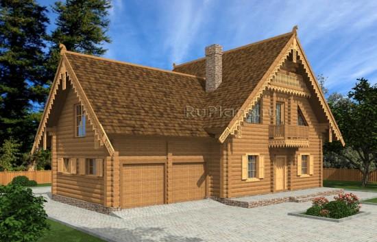 Проект индивидуального одноэтажного жилого дома с мансардой в русском стиле Rg4995