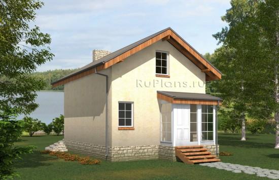 Проект скромного одноэтажного дома с мансардой Rg5033