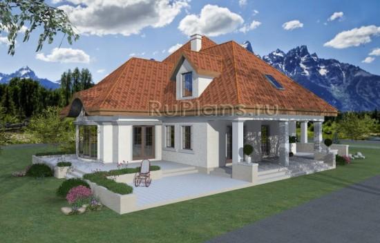 Проект одноэтажного дома с мансардой Rg3954
