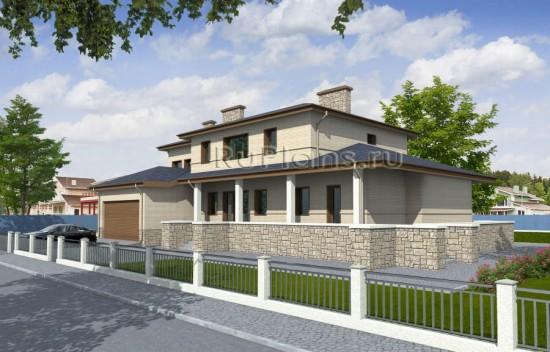 Проект двухэтажного жилого дома с подвалом и гаражом Rg1566
