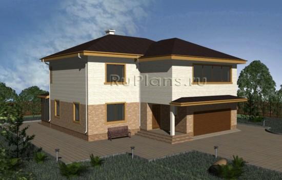 Проект комфортного двухэтажного дома с цоколем и гаражом Rg3343