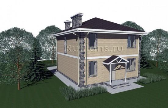 Проект компактного дома из газобетона, облицованного кирпичом Rg1453