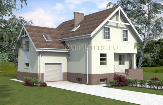 Проект дома с мансардой и подвалом Rg3944
