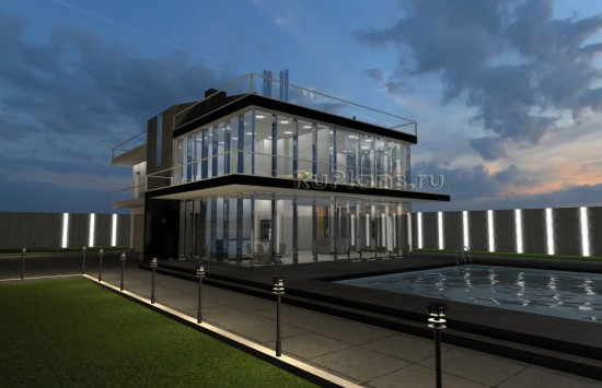 Проект двухэтажного жилого дома в стиле hi tech Rg4991
