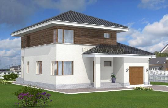 Проект двухэтажного дома с угловыми окнами Rg4955