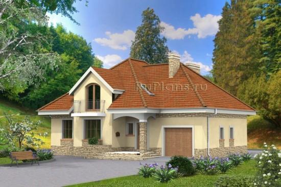 Проект компактного одноэтажного дома с гаражом и мансардой Rg4752