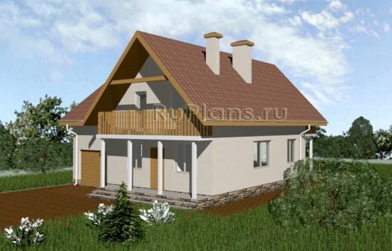 Проект небольшого дома с мансардой и гаражом Rg3348