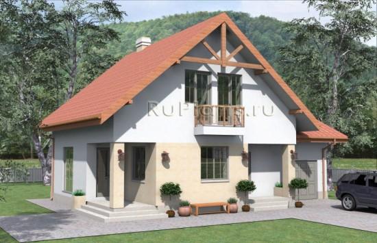 Проект одноэтажного дома с мансардой и подвалом. Rg4812