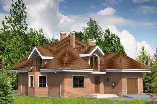 Проект уютного дома с мансардой и гаражом Rg4742