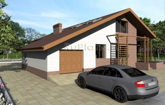 Проект дома с мансардой, зимним садом, террасой Rg4012