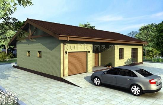 Проект одноэтажного жилого дома с гаражом Rg1597
