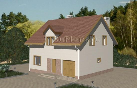 Проект одноэтажного дома с мансардой и гаражом Rg3333