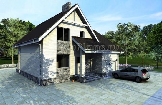 Проект дома с мансардой и гаражом Rg3863