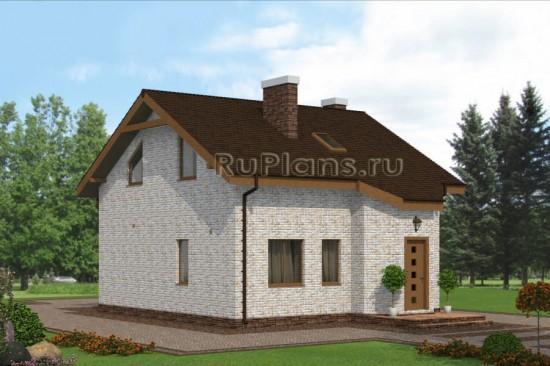 Проект одноэтажного дома с мансардой и эркером Rg4842