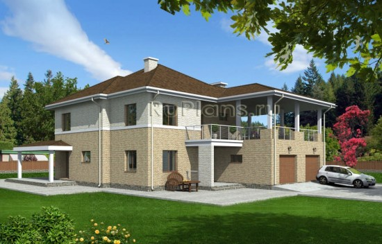 Проект двухэтажного дома с гаражом на два авто Rg1565