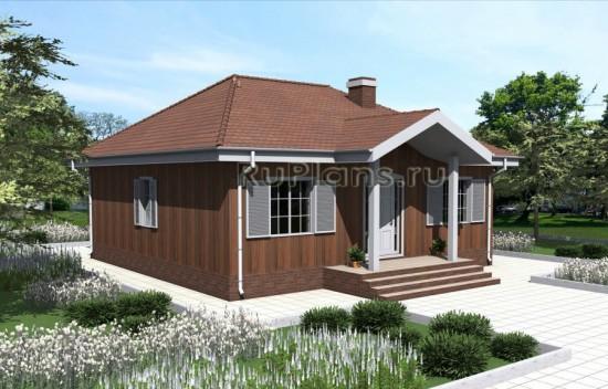 Проект одноэтажного дома c террасой Rg4806