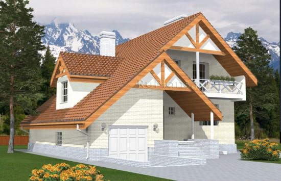 Проект разноуровневого дома с мансардой и подвалом Rg4966