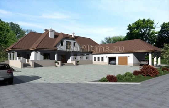 Проект большого одноэтажного дома с мансардой Rg3327