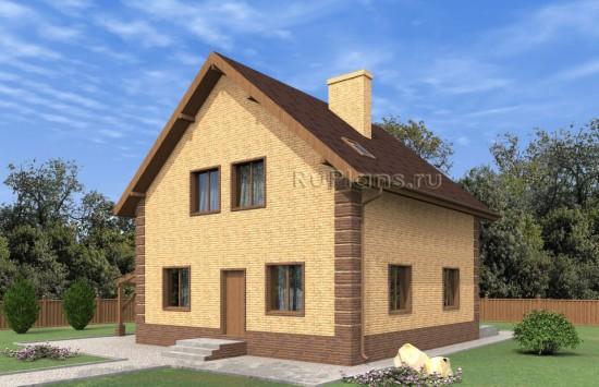 Дом с мансардой, погребом и навесом для автомобиля Rg5004