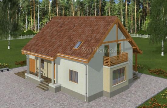 Проект уютного одноэтажного дома с мансардой Rg4981