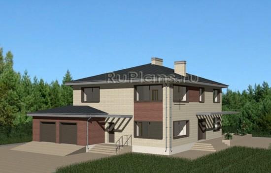 Проект двухэтажного дома c большим гаражом и террасой Rg3428