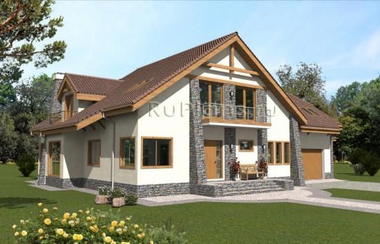 Проект одноэтажного дома с мансардой Rg4815